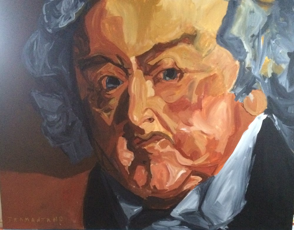 "John Adams, painted between January 21, 2017 to February 9, 2017 on 30""x40"" canvas with a nontraditional horizontal (landscape) orientation for the portrait."
