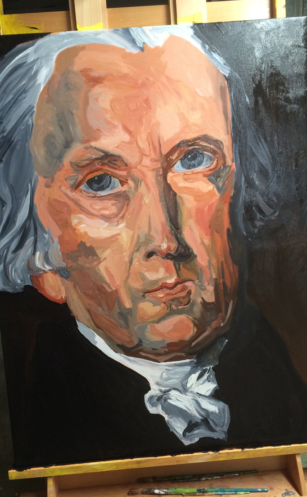 on the easel and before I signed it, James Madison was painted between March 15 to April 1, 2017