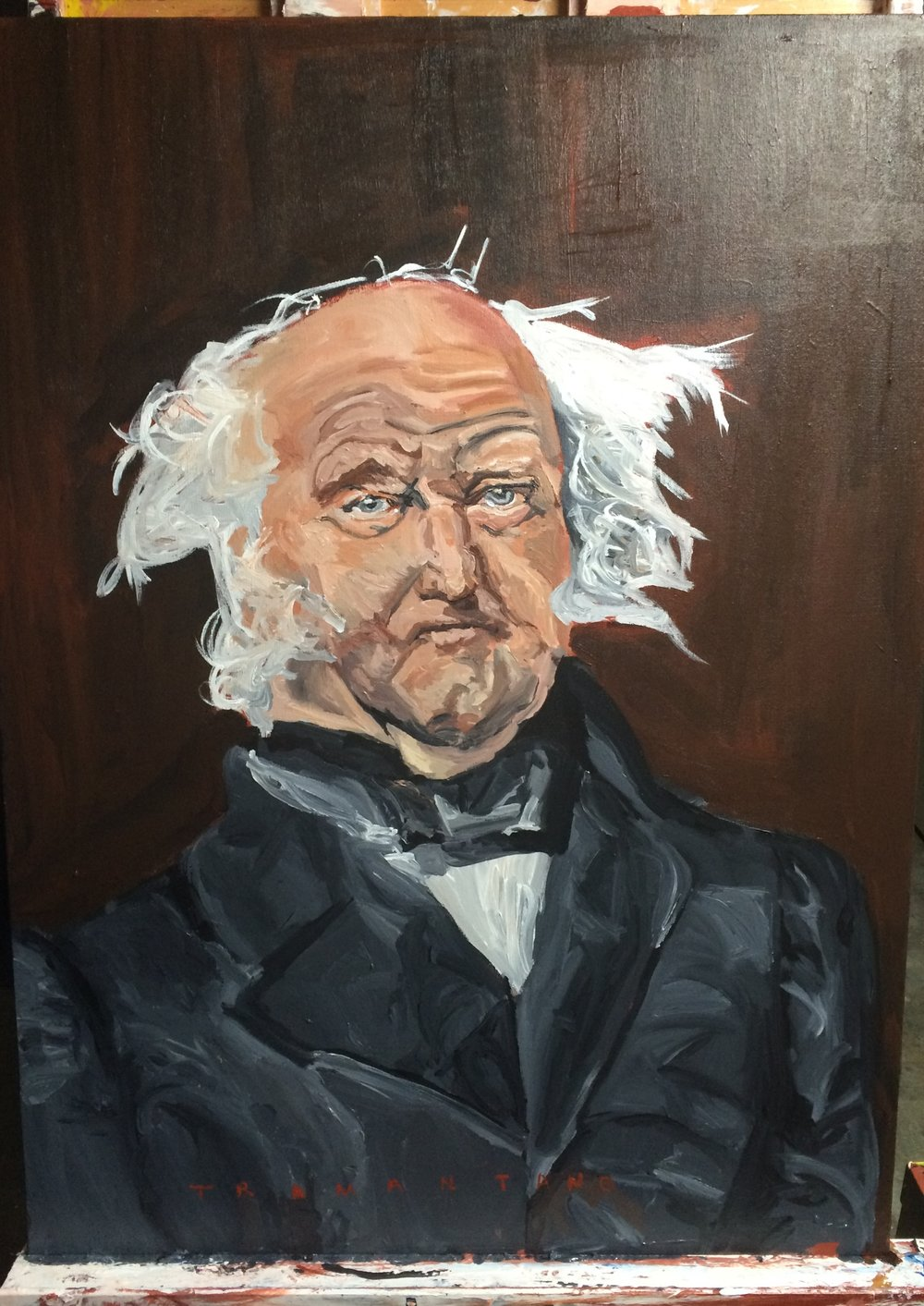 "On the easel, Martin Van Buren was painted from July 15 to July 24 of 2017 on 30""x40"" canvas"