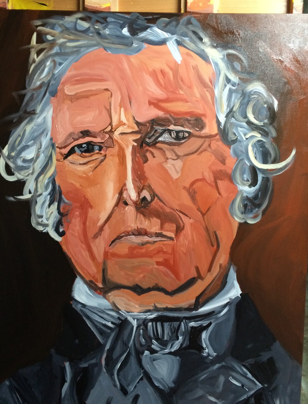 "I painted Zachary Taylor from May 6-7, 2017 on 30""x40"" canvas"