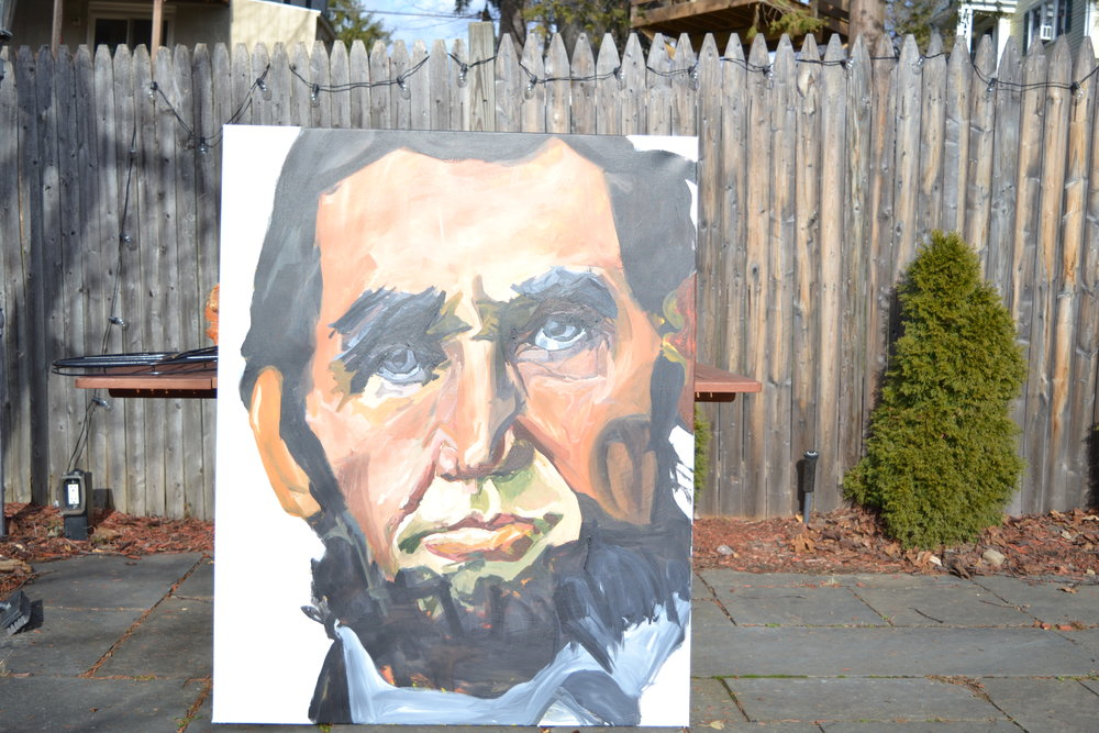 "Painted from December 18 to 25 of 2016, Lincoln is the largest (on 40""x50"") and first painted in the series"
