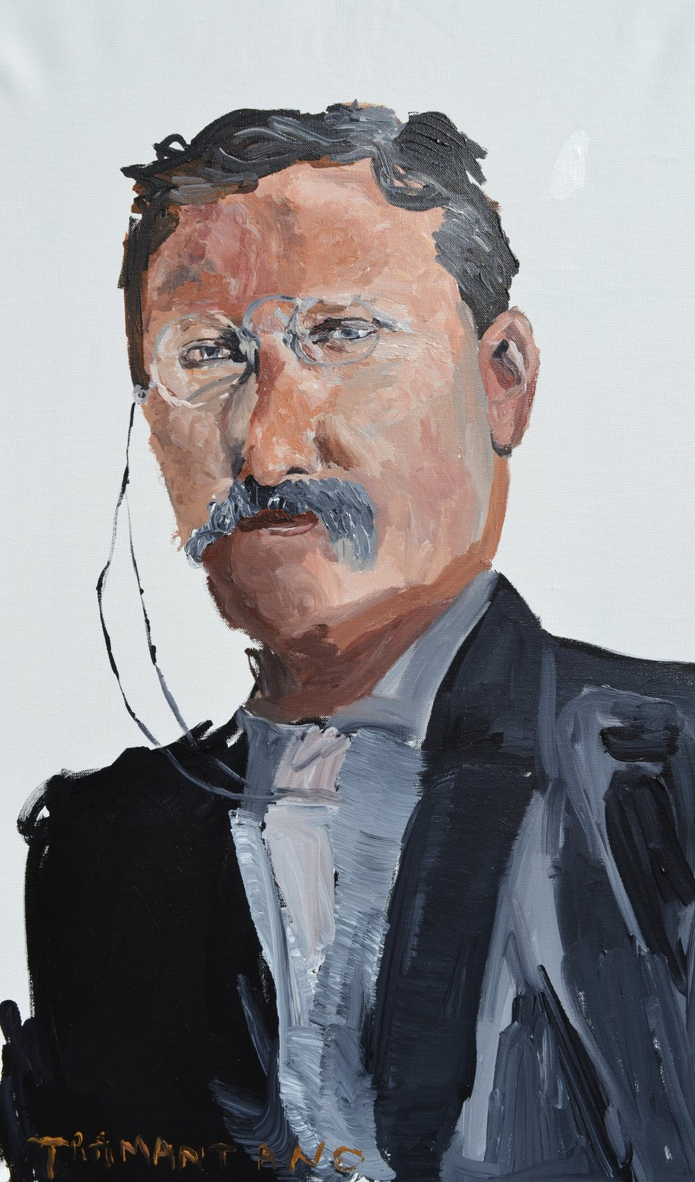 "Theodore Roosevelt was painted from August 24 to 29 of 2017 on 20""x33"" canvas"