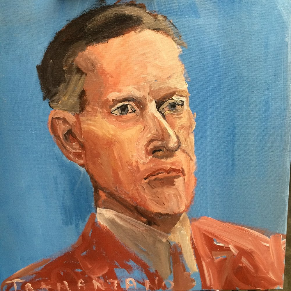 "Calvin Coolidge was painted on a 20""x20"" canvas on August 30, 2017 in the afternoon"