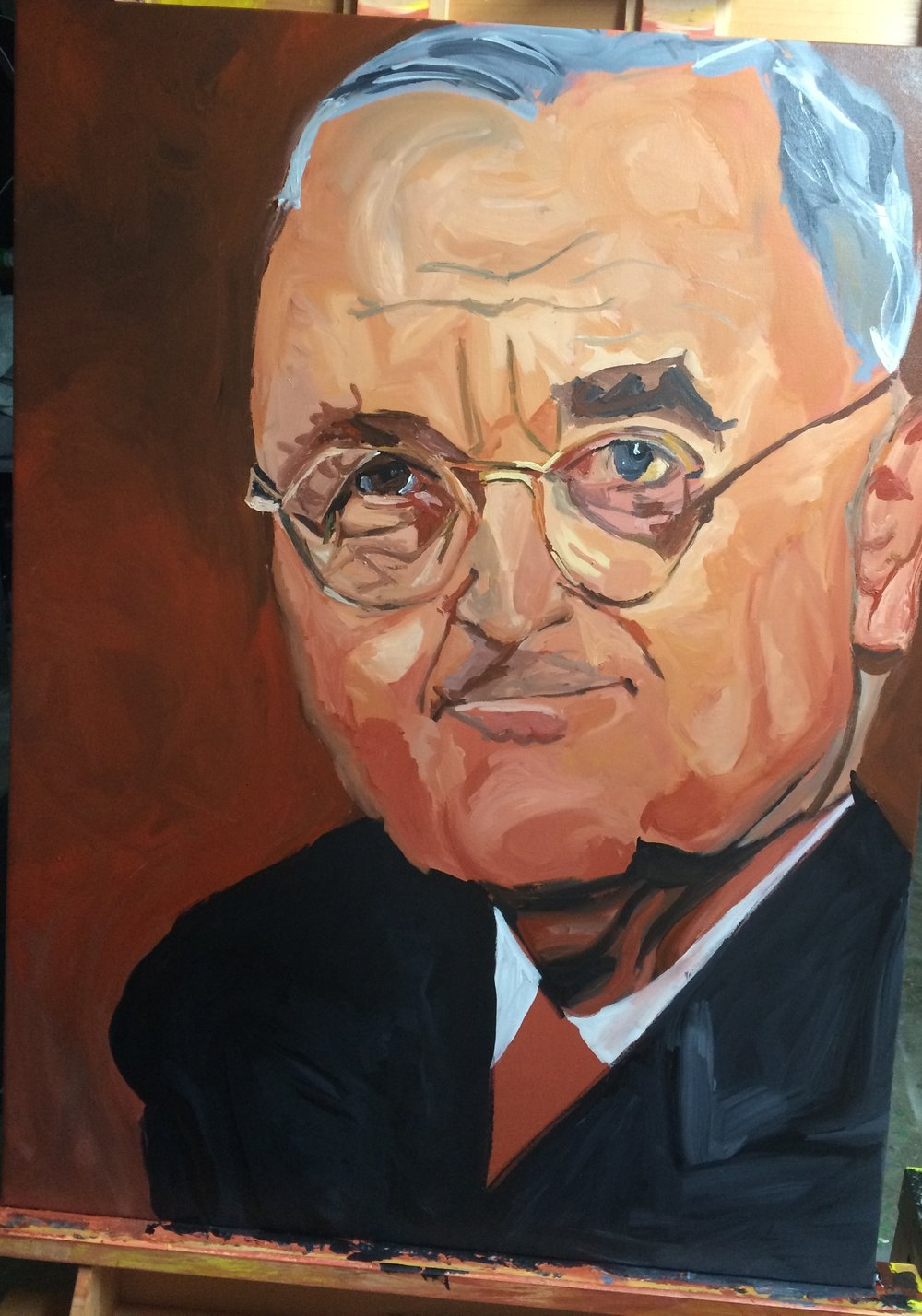 "Harry Truman was painted from April 18 to April 22, 2017 on 30""x40"" canvas"