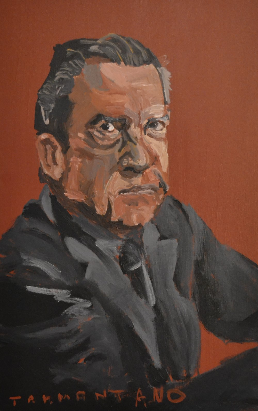 "Nixon was painted on August 7, 2017 on 20""x33"" canvas"