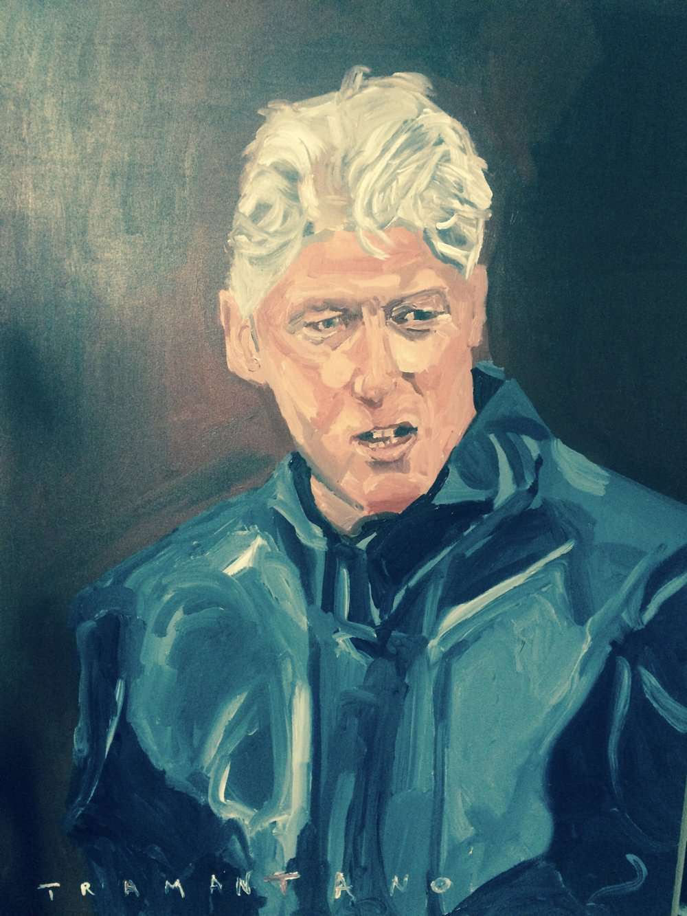 "Painted between July 28 and August 6 of 2017, Bill Clinton is on 30""x40"" canvas"