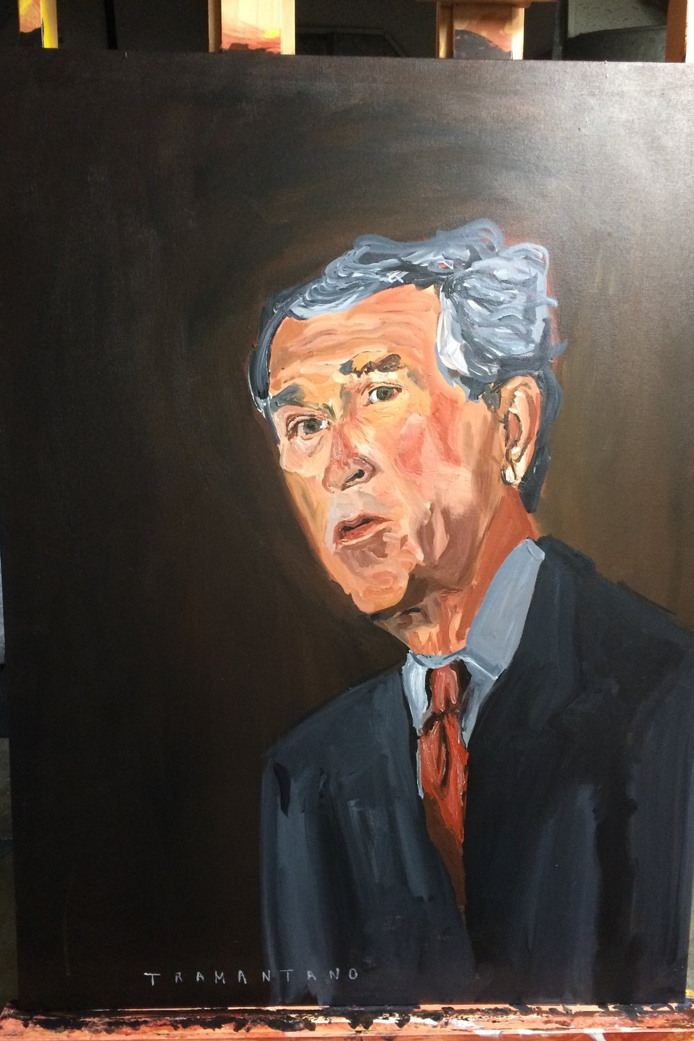 "Painted from May 16-20, George W Bush is on 30""x40"" canvas"