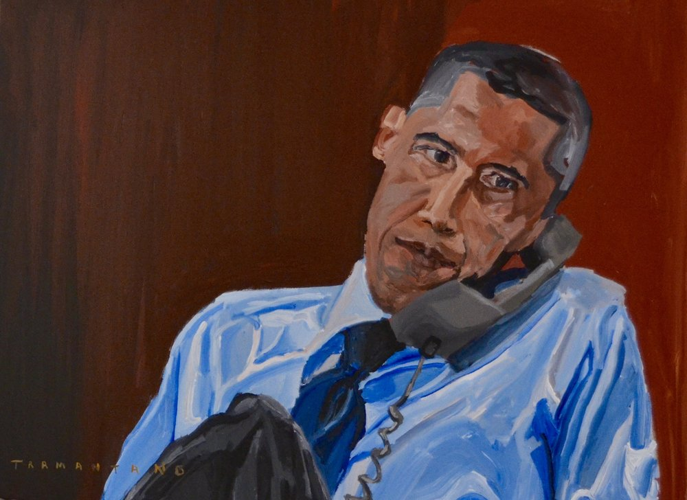 "Painted from July 13-14, 2017, Barack Obama is on 30""x40"" canvas"