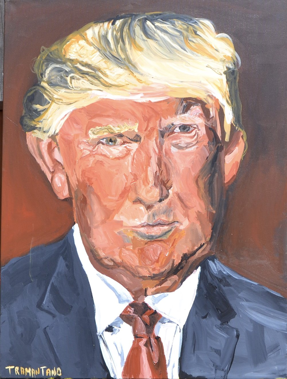 "Painted from February 23 to March 11 of 2017, Donald Trump is on 30""x40"" canvas"
