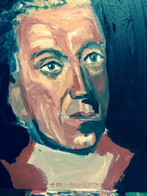 "James Monroe was started on Thursday September 14, 2017 and was the last portrait in the series to be completed during the afternoon of Sunday, September 17. Monroe was the most difficult for me to paint because the photo references were not easy to work from. He is painted on 16""x20"" canvas."