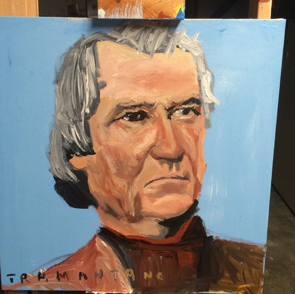 "Andrew Johnson was painted on September 3, 2017, on 20""x20"" canvas."