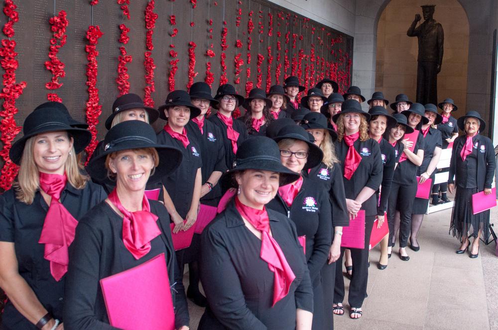 Ready to sing at the Australian War Memorial.