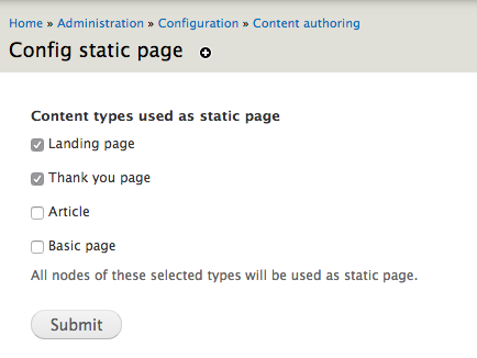Static page configuration