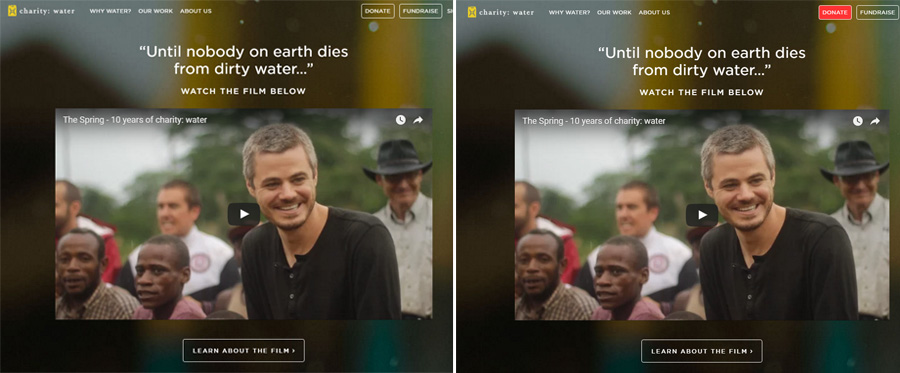 Charity: Water's website with one change.