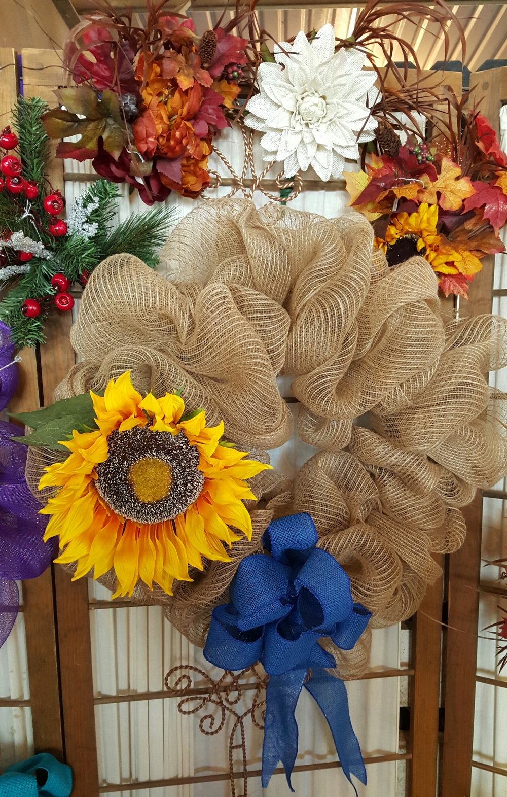 Seasonal burlap wreath medium- Base $25, picks & bows $10 each