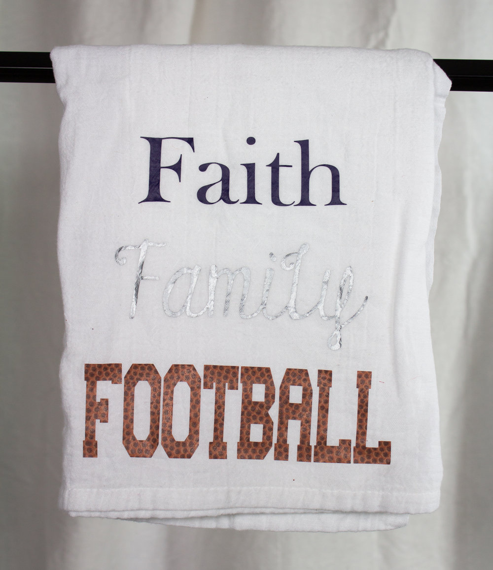 Faith Family Football Tea Towel