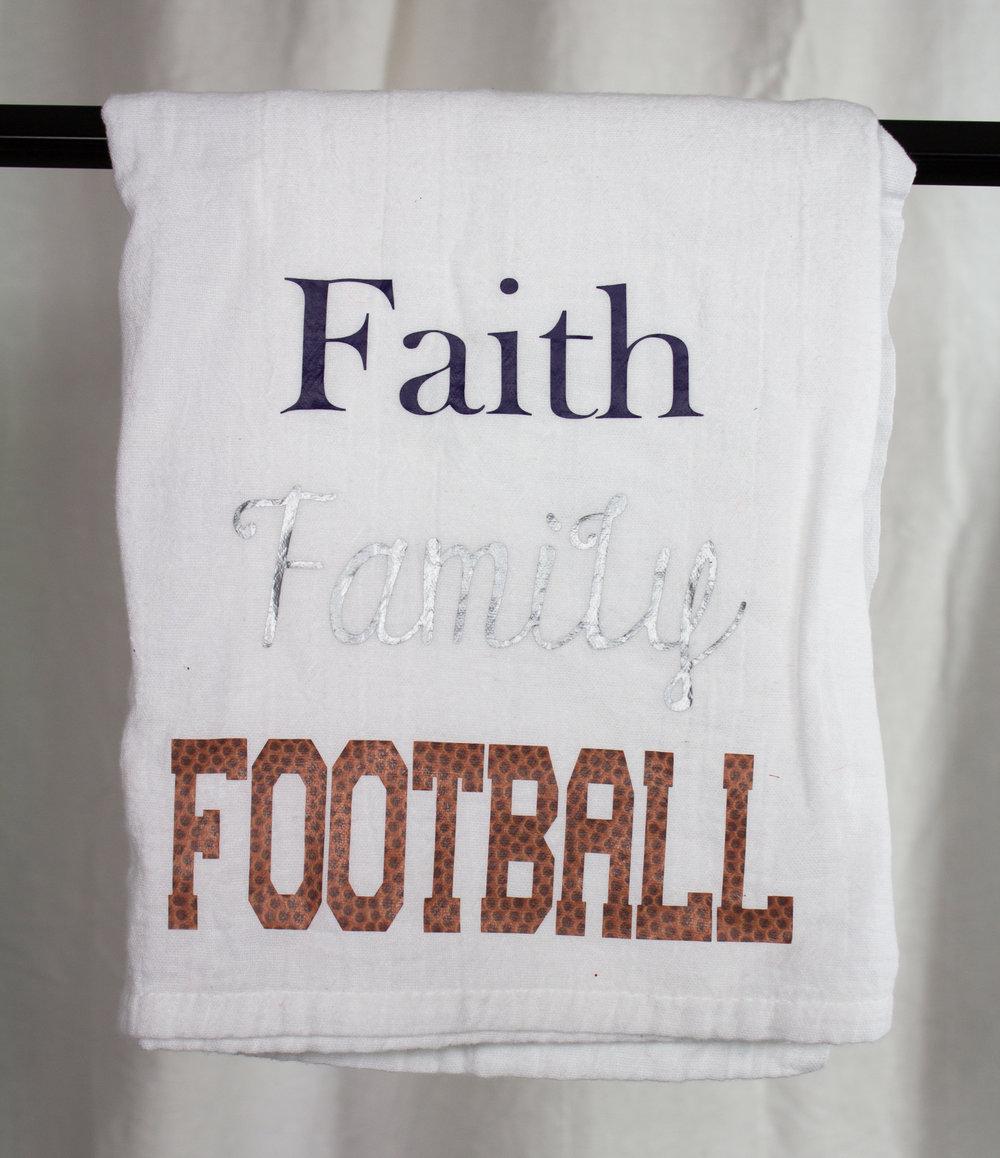 Faith Family Football Tea Towel