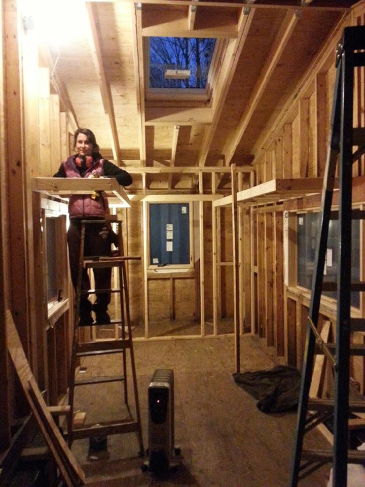 My dad and I moving to the interior - we framed the bathroom and partial loft.  I wanted to finish the exterior before getting to this point, but acquiring the necessary materials has proven to be a bit of work.  Plus, I'm being excessively picky.  I'm allowed.  It's my house, and I'm an architect.