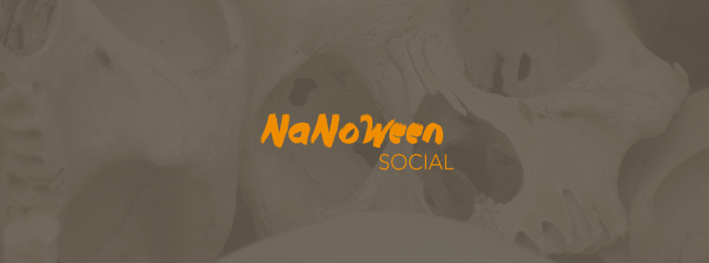 Web banner advertising a Halloween social event in partner with NaNoWriMo.