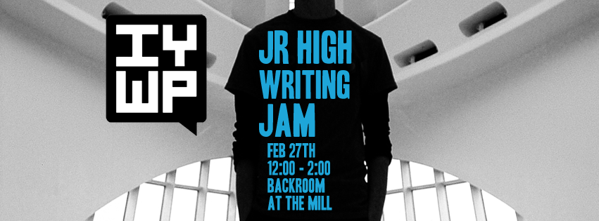 Facebook banner advertising the Junior High Writing Jam for the IYWP main Facebook page.