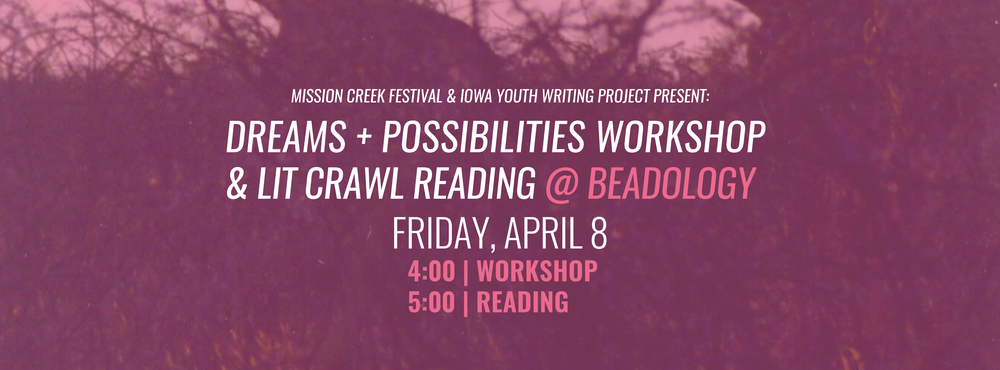 Facebook event banner encouraging both writers and Mission Creek attendees to attend a workshop-reading hybrid.