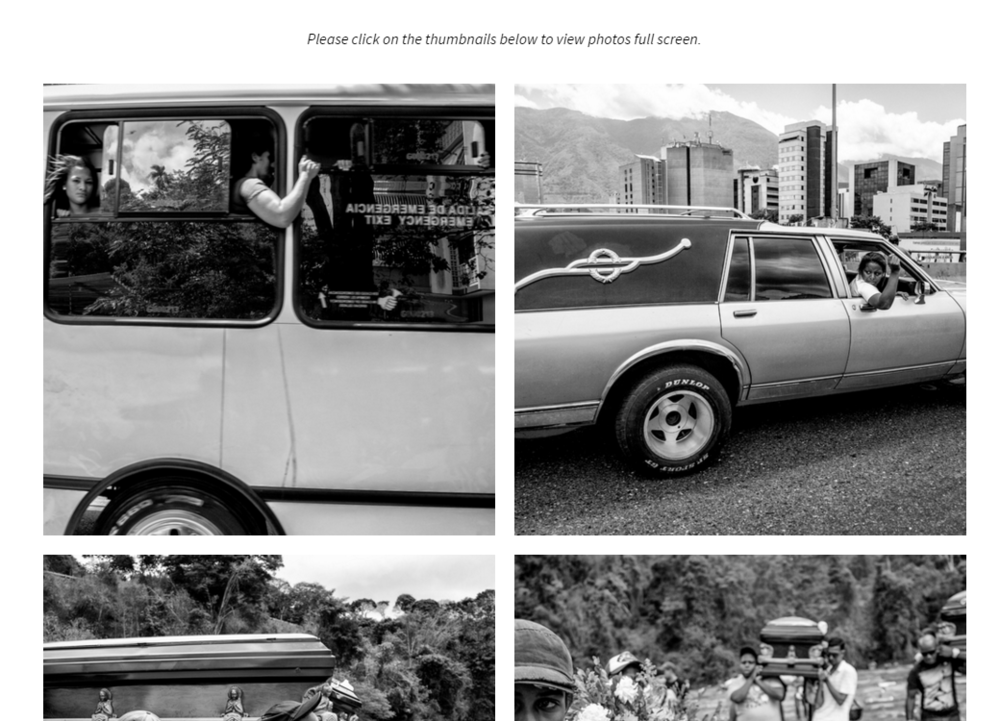 Photo essays appear in large thumbnails, but blow up to full-screen images with telling captions; in many of the photo essays, the captions are also bilingual.