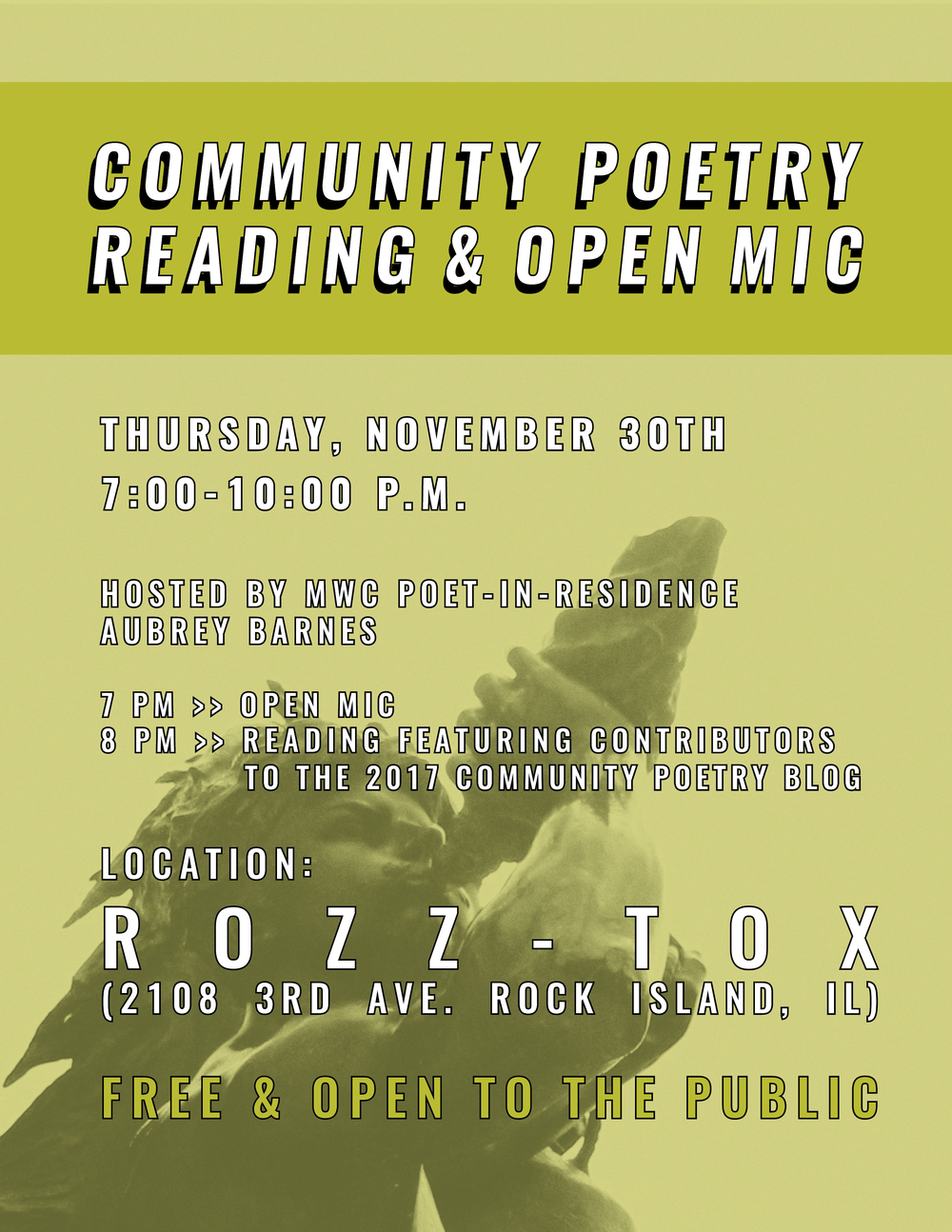 """Community Poetry Reading & Open Mic."" 2017. (Midwest Writing Center)"