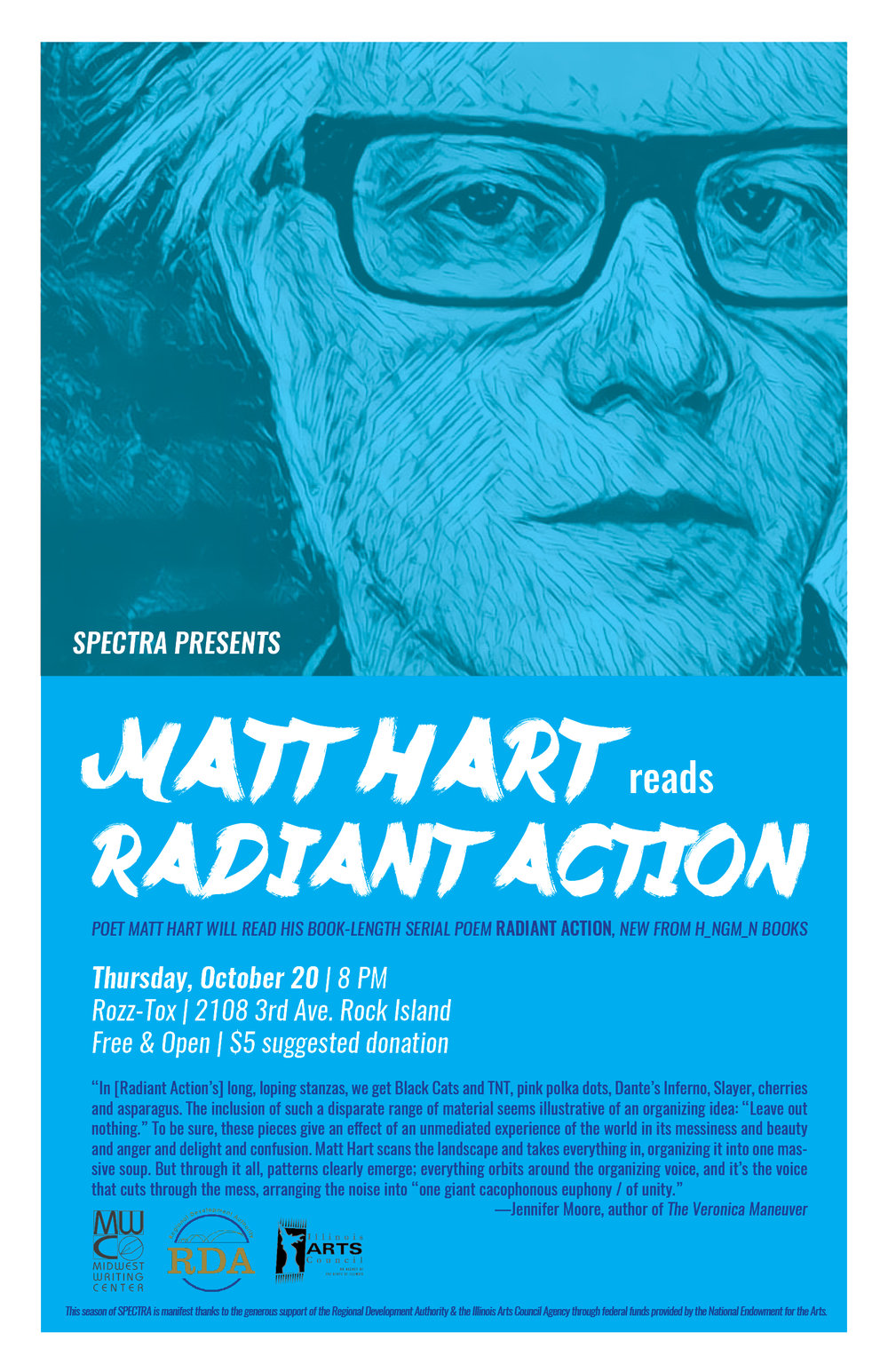 """Matt Hart reads 'Radiant Action.'"" 2016. (Midwest Writing Center)"