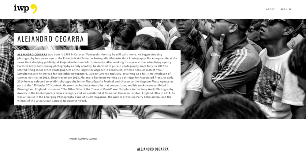 """In this case, this contributor's page was designed to include photos from his photo essay, """"Violence in Venezuela."""""""