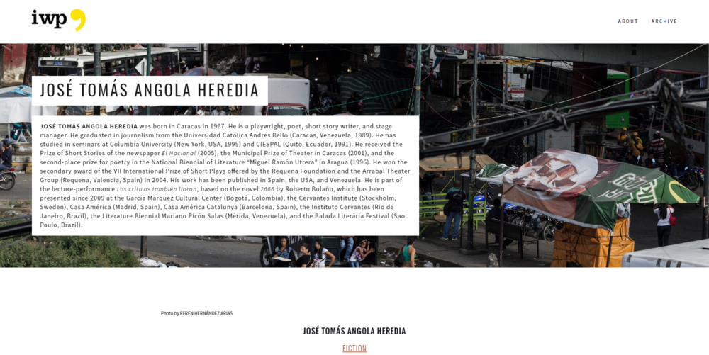 Still of page heading. Each page in the collection included contributor bio and was coded via the header photo to indicate whether the author represented Venezuela or Sarajevo.