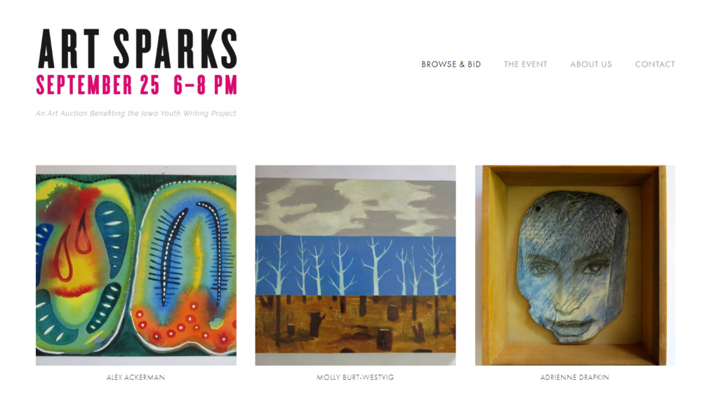 Art Sparks, an art auction website I designed for the Iowa Youth Writing Project (2018)