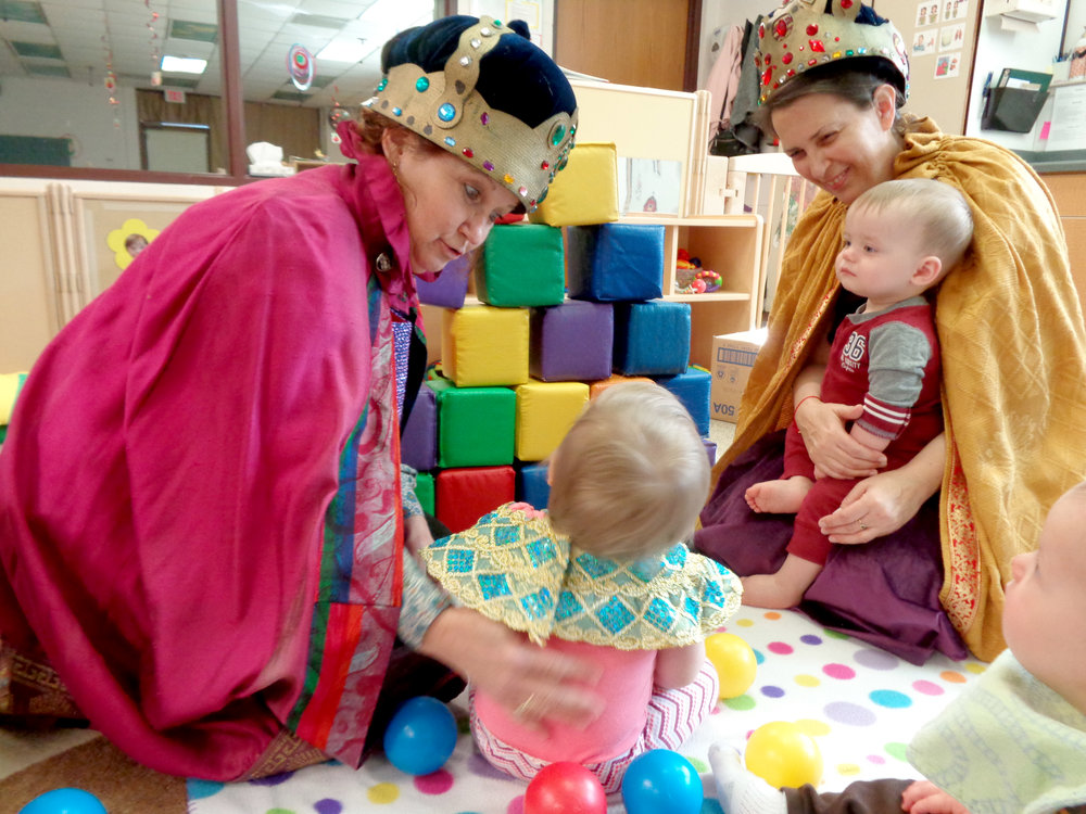 Teaching artist Kris Winter and preschool teacher Marcia Wolf integrate storytelling into the preschool curriculum at UW-Stout's Child and Family Study Center.
