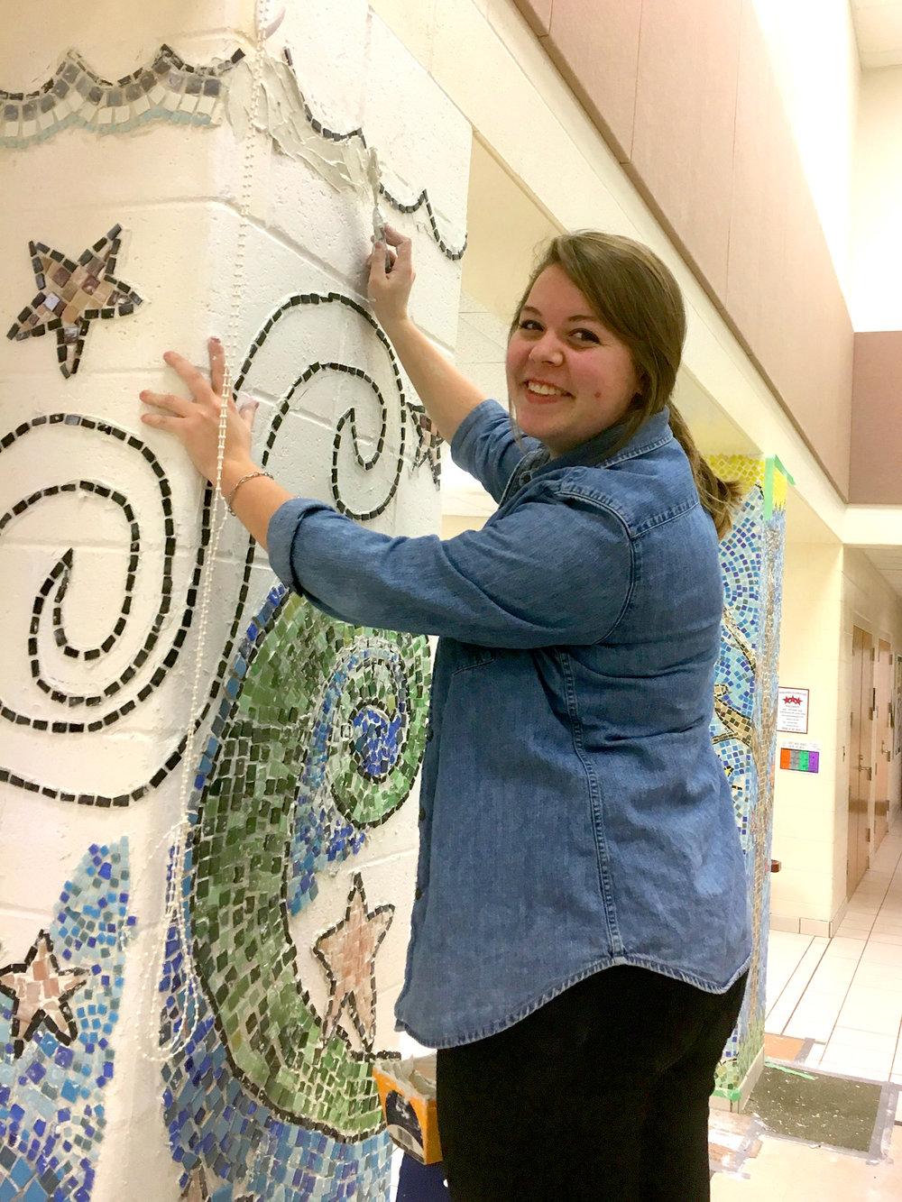 Olivia Revolinski  UW-Stout Art Education 1) INTERNSHIPS: Wakanda Mosaic Pillar Project, Wakanda Elementary School 2) Arts and Crafts Class, Boys and Girls Club, River Heights Elementary