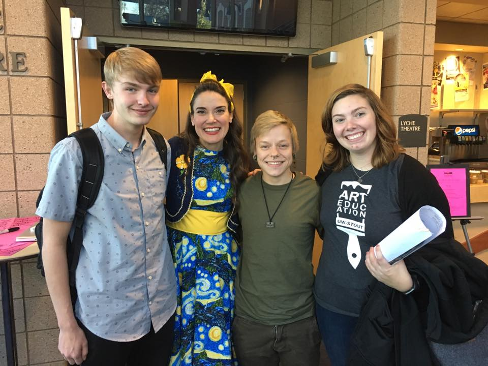 Photo: UW-Stout Art Education students Aidan Manley, Emery Kuehn, and Ellen Scharfenberg with Keynote speaker, Cassie Stevens.