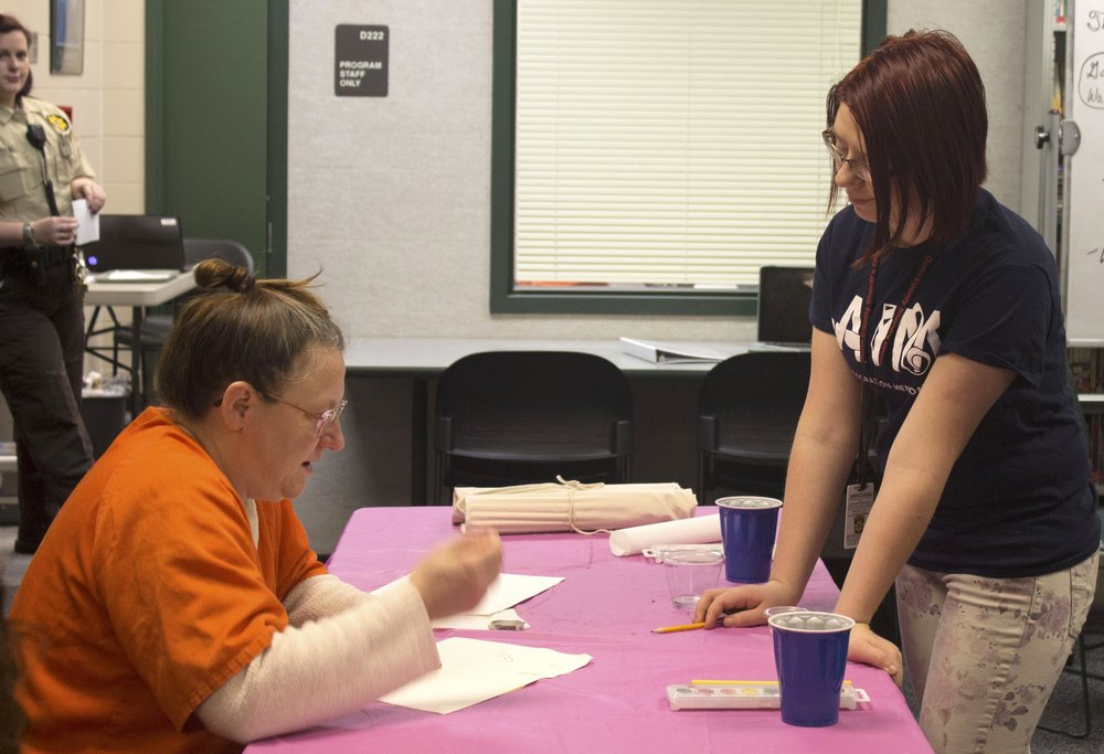 Coral Calhoon  UW-Stout Art Education INTERNSHIP: Watercolor classes for inmates, Dunn County Jail