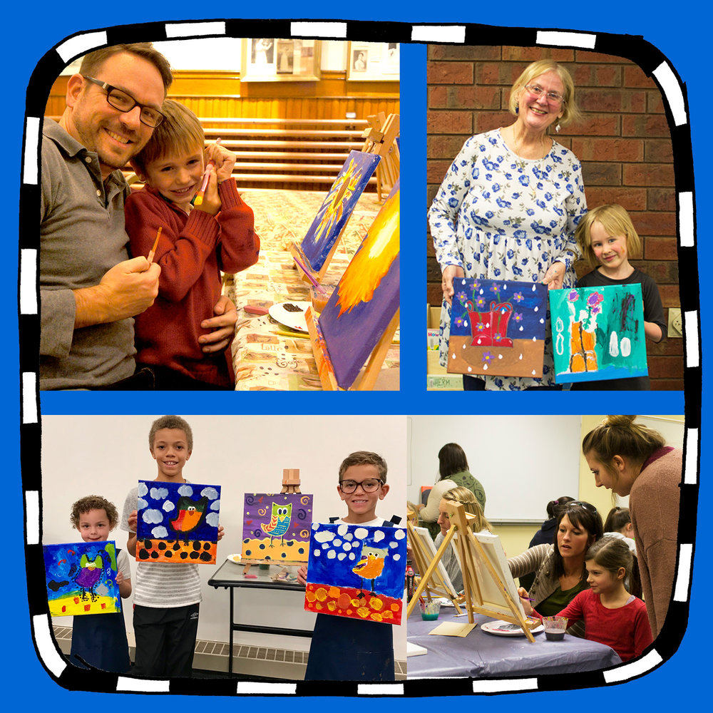 """CANVAS CREATIONS""Student & parent painting classes(Thursday or Sunday Option) - Location: UW-Stout library (2nd floor)THURSDAYS: 5:30-8:30pm Dates: Feb. 7 - May 9(set up at 5:30pm, class runs 6-8pm, then clean up)ORSUNDAYS: 5:30-8:30pm Dates: Feb. 3- May 5(set up at 5:30pm, class runs 6-8pm, then clean up)Estimated class size: 10-15(Paid prep time included for painting example)Canvas painting classes for students and parents/grandparents/ adult family members. Intern (or Intern and a partner) independently teaches painting classes using step-by-step instruction, where children and parents each come away with a completed whimsical painting."