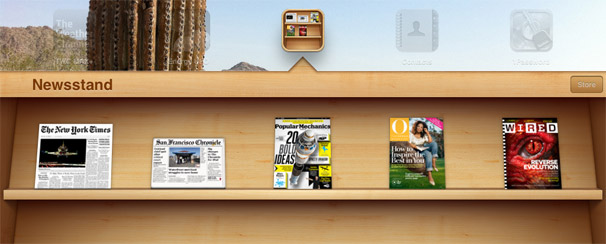 Newsstand screenshot in iOS 5. (via    macworld   )
