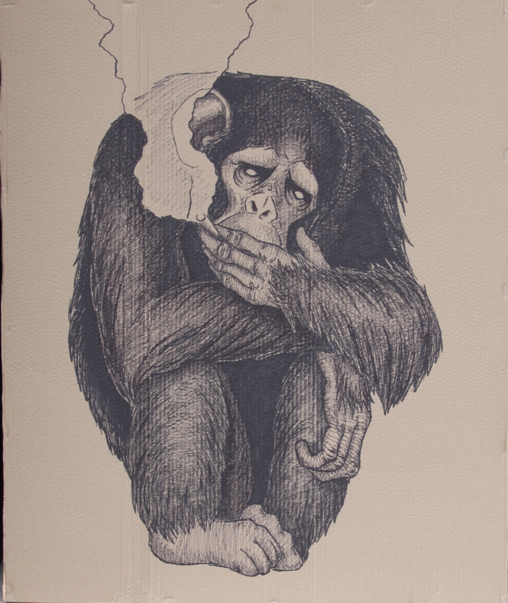 Chimpanzee with Cigarette    2015  Sharpie on cardboard   30x48