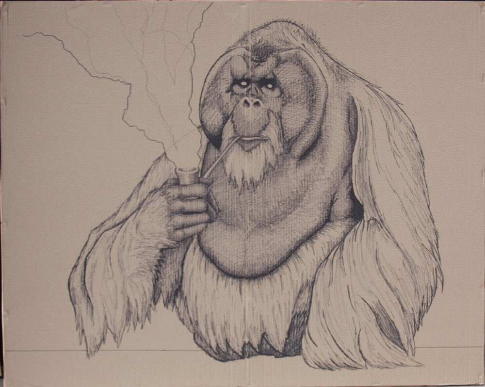 Orangutan with Pipe   2015  Sharpie on cardboard   60x48