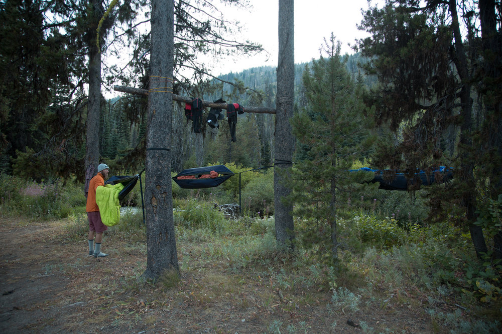 attempting to dry our chamois and set up camp