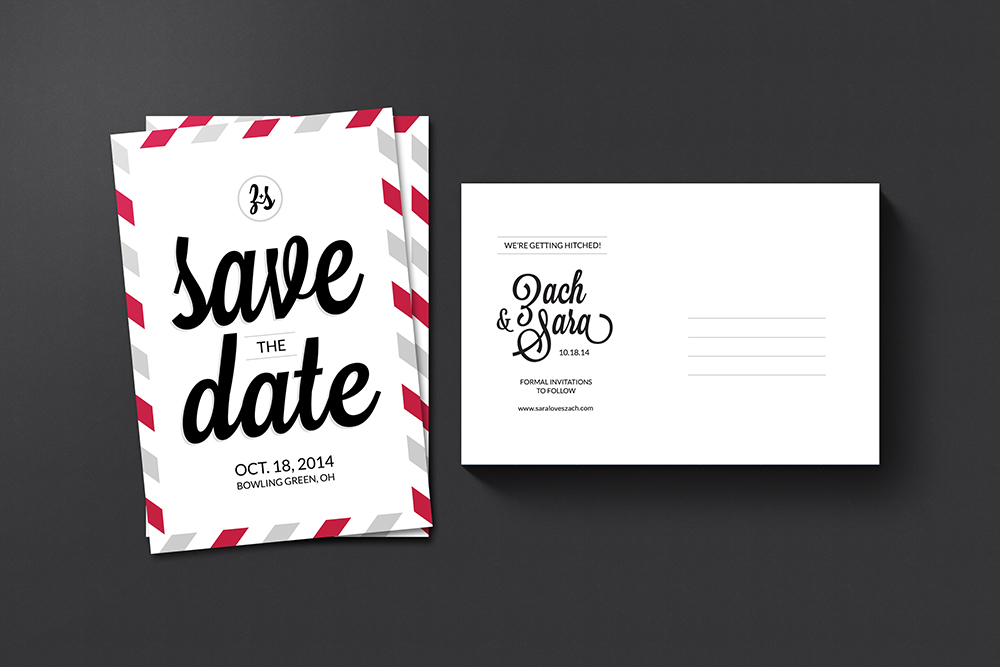 Z + S wedding save the date postcard design