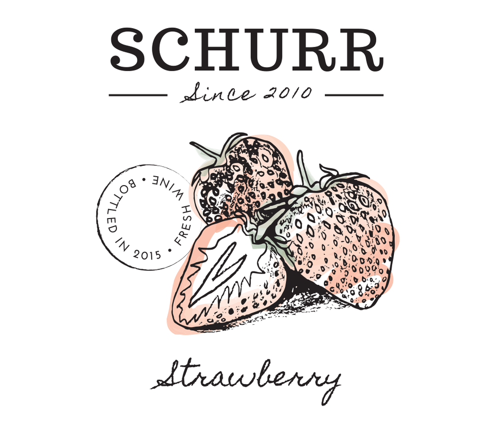 Schurr wine strawberry label design