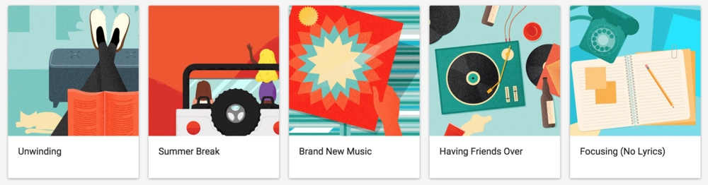 A few examples of illustrations with subtle texture. Found on the Google m usic   homepage: https://play.google.com/music/listen#/now