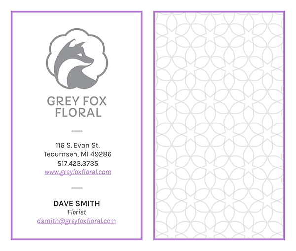 Grey Fox Floral Business Card Design 1