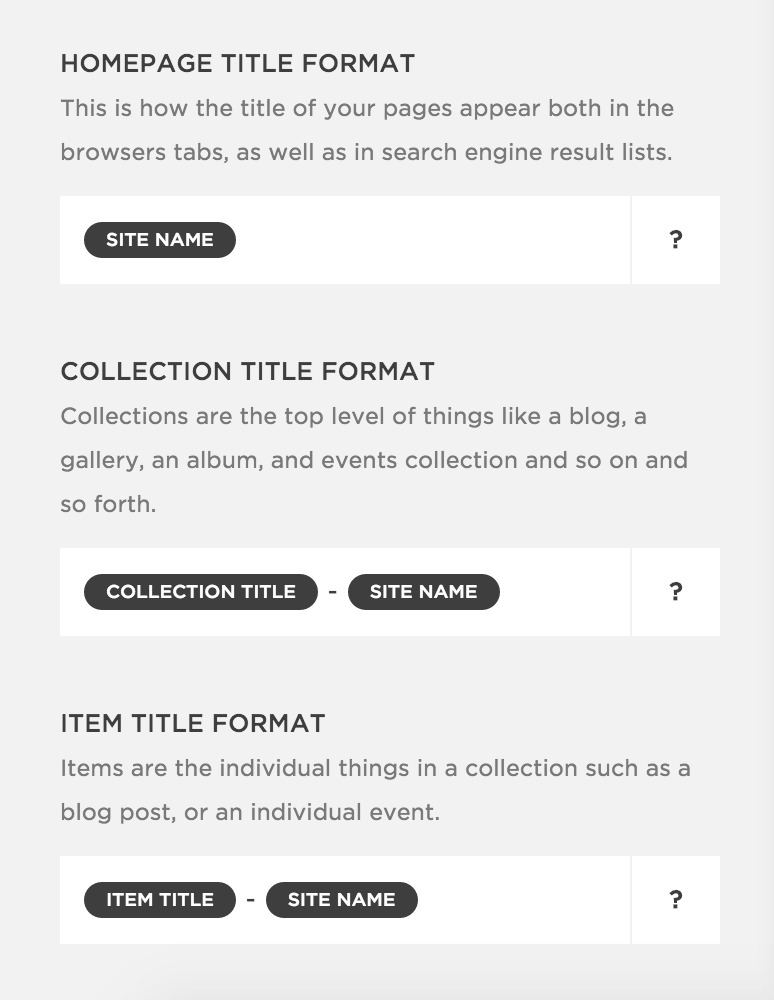 Squarespace title tag format