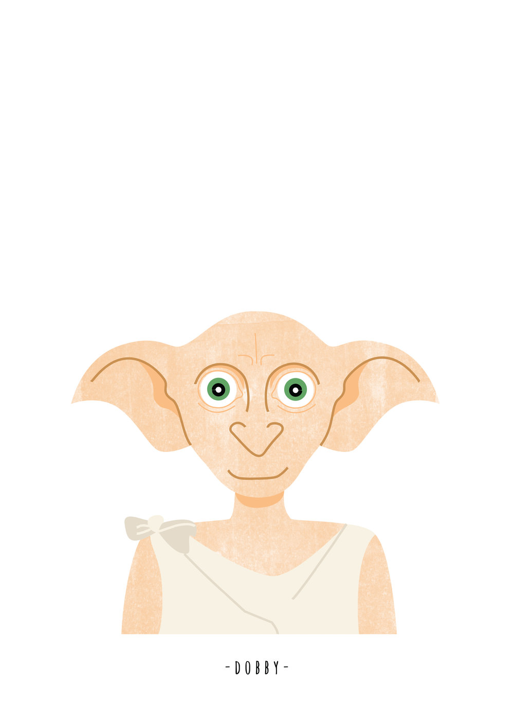 Dobby the house elf custom character illustration by Sara Stuart via Sarasure.