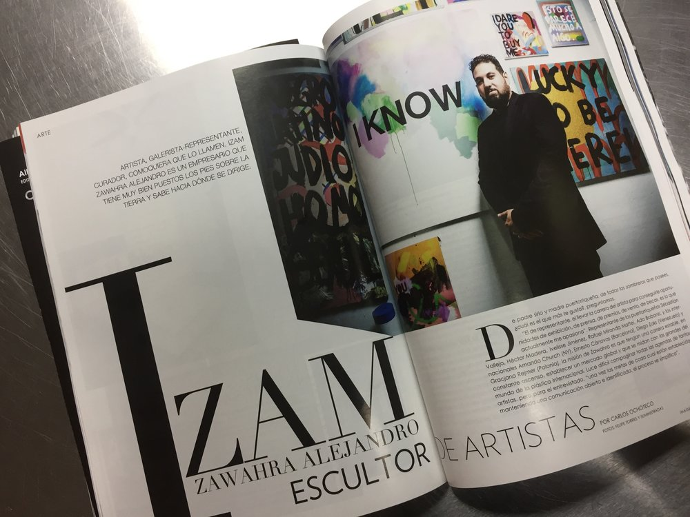 Zawahra posing in front of Rafael Miranda Mattei's work.