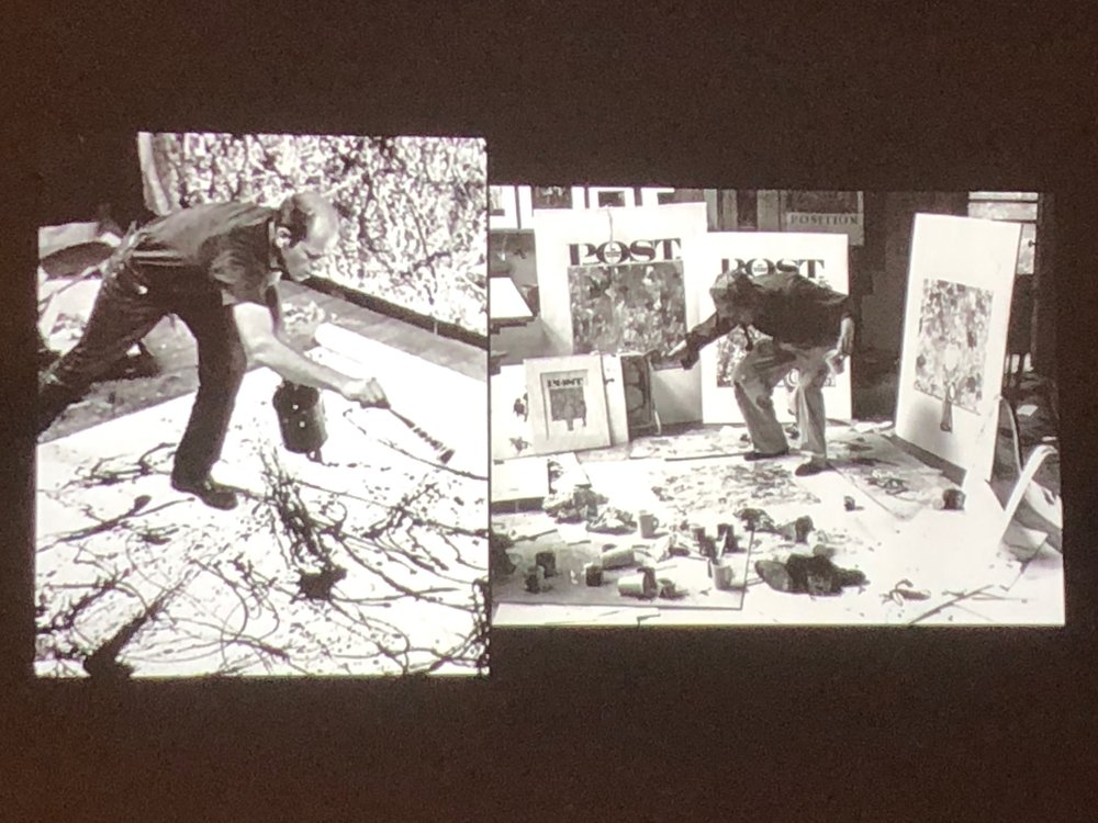 DeGuilio slide from Painting Illuminati (Pollock and Rockwell each abstract expressing themselves in their respective scales)