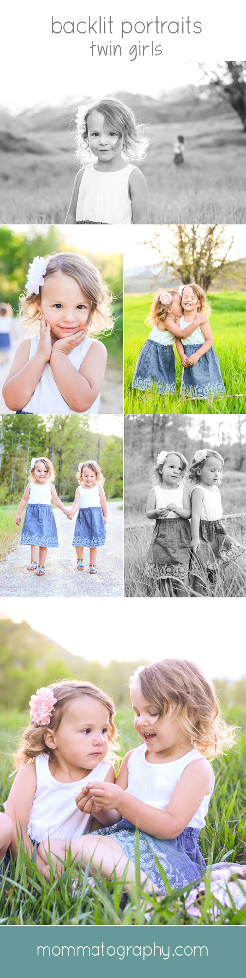 Backlit Portraits/Photography of Kids - Portraits of Twin Girls - www.mommatography.com