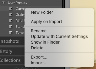 Importing Lightroom Presets